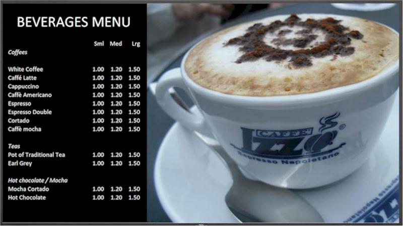 Repeat Signage software promotes coffee shop menus