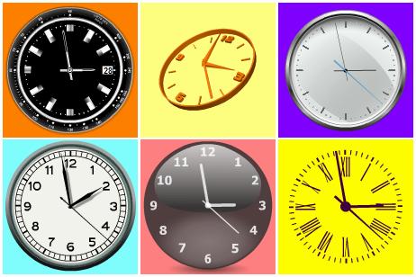 Абстрактные флеш часы, внутри часов анимация.