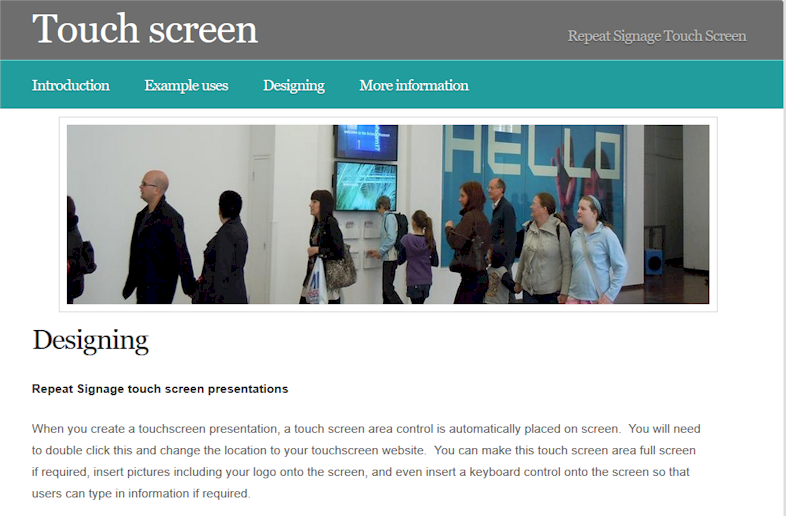 Repeat Signage digital signage software supports touchsceens